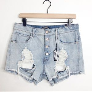 Express High Waisted Distressed Denim Shorts 10